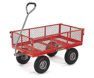 Garden Utility Cart Steel Removable Sides 800lb. Capacity Red