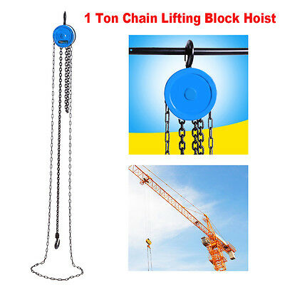 Quality 1 Ton Chain Workshop Lifting Block & Tackle Hoist Heavy Duty Car Load UK