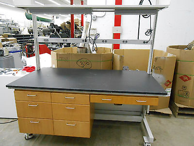 Lab Work Bench Table With Power Bar Light & Fixtures And Upper Shelf