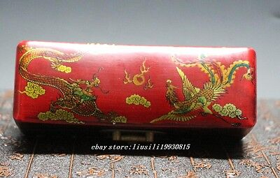 Collectibles Decorated Handwork Wood Painting Dragon & Phoenix Jewel Box N