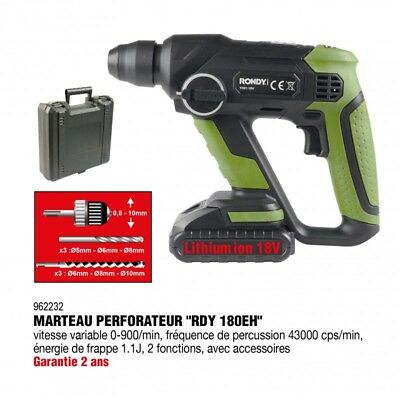 Marteau Perforateur 18V Lithuim 1500mAh  - RONDY FRANCE