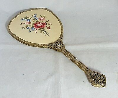 Beautifu Antique Petit point Hand Mirror