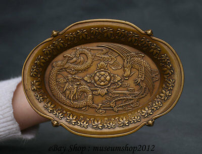 """6"""" Old China dynasty palace Copper Dragon Phoenix Peony Flower Fruit Plate Tray"""