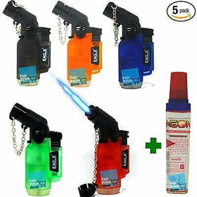 5 Pack 45 Degree Angle Eagle Torch Lighter Refillable Windproof +butane bottle
