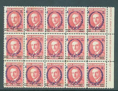 Albania 1928 1 on 10 sg.229b the scarcer perf 11.1/2 MNH block of 15