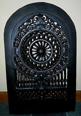 Antique Ornate Bent And Son Cast Iron Fireplace Insert Cover No.130