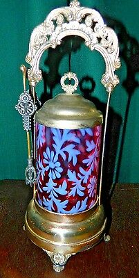 Victorian Silver Plated Cranberry And Floral Design Pickle Jar With Tongs