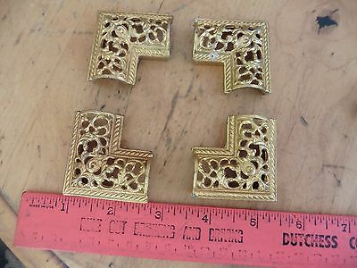 4 Vtg Picture Frame Corners Victorian ? Ornate Brass ? Embellishment Jewelry Box
