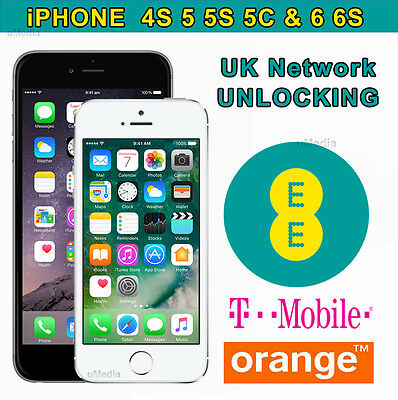 iPhone All Model (Up to 6S) Unlocking Service For UK EE Orange Tmobile - 24Hrs