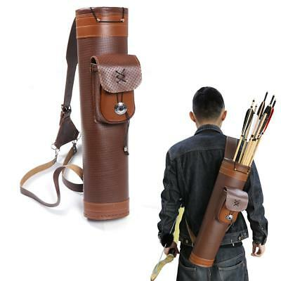 Archery Traditional Back Arrow Quiver Genuine Cow Leather Hunting Pouch Belt Bag