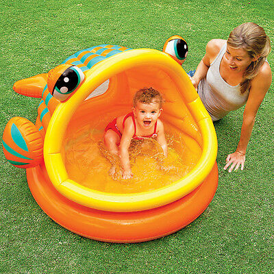 "Intex 49"" x 43"" x 28"" Lazy Fish Baby Shade Inflatable Kiddie Swimming Pool"