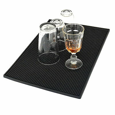 Black 18'' x 12'' Rubber Bar Service Spill Mat Beer Pad Barware Rug Table Cover
