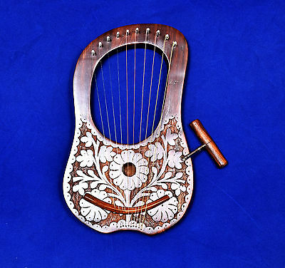 Brand New Lyre Harps 10 Metal Strings Rosewood Hand Engraved With Three Flowers