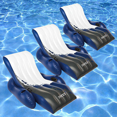 """Intex 71"""" x 53"""" Floating Recliner Lounge Swimming Pool Inflatable Float - 3 Pack"""