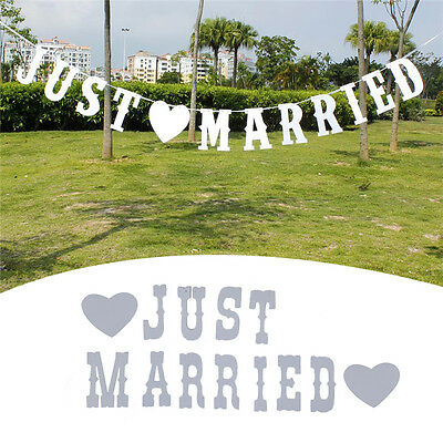 "Vintage ""JUST MARRIED"" Wedding Banner Party Decor Bunting Photo Booth Props NEW"