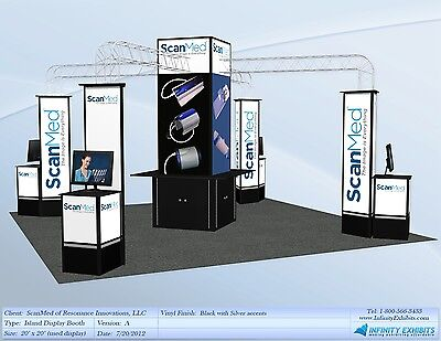 Trade 20′ x 20′ Island InfiniLite Display with Center Tower & Work Stations