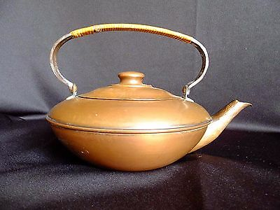 Antique Craftsman Inc. Hammered Copper Tea Kettle #311 Arts Crafts Rattan Handle