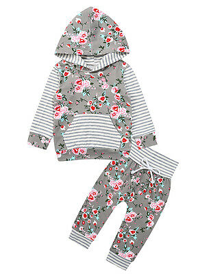 Toddler Baby Boys Girls Clothes Floral Hooded Tops+ Pants Tracksuit Outfits Set