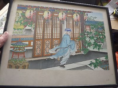 Antique / Vintage Fairly Old Print Japanese Chinese Unknown  Colourful 16X13In