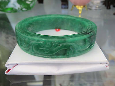 Translucent Emerald Green Jadeite Jade Carved Ruyi FISH Bangle Bracelet 56MM