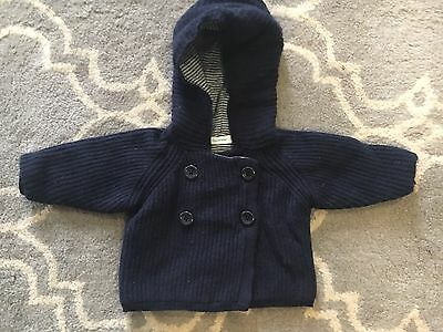 Sz 0-3 Months Country Road Wool Blend Navy Blue Knitted Hooded Jacket