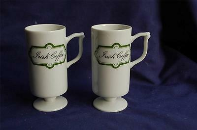 2 Irish Coffee Footed Porcelain Mann Made Mugs Coffee / Espresso Cups