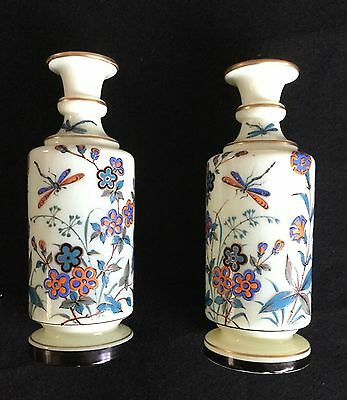 Vintage Pair of Yellow Bristol Vases with Flowers & Dragonflies - Lovely!