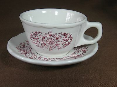 Buffalo China U.S.A. Restaurant Cup and Saucer Red Flowers and Berries
