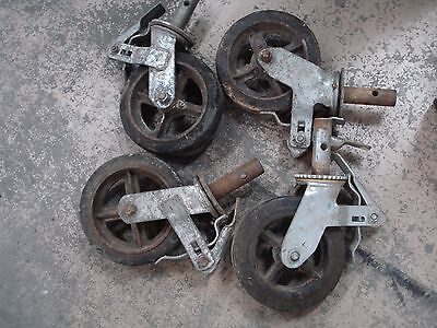 """4 Scaffolding Casters with 6"""" x 2""""  Steel Wheels with hard rubber tire used"""