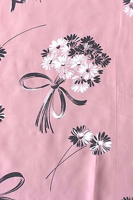 """Lovely Pink Floral & Bows Vintage Never Used Rayon Fabric c1940~1yd18""""L  X 39""""W"""