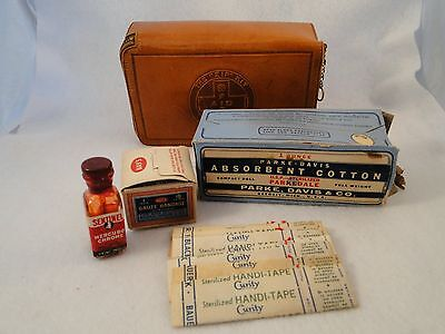 """The """"Zip"""" Kit First Aid Advertising Leather Case 1950's Most Original Contents"""