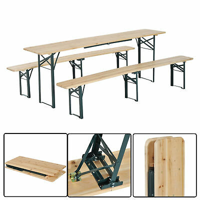 "Outsunny 86"" Folding Heavy Duty 3pc Wooden Picnic Table Bench Set Portable"