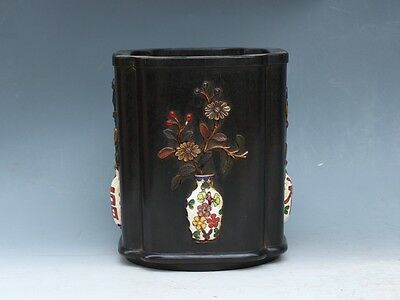Chinese Exquisite hand-carved Floral pattern wood mosaic shell Pen holder