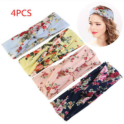 4pcs Girl Elastic Turban Head Wrap Headband Rose Flower Twisted Hair Band