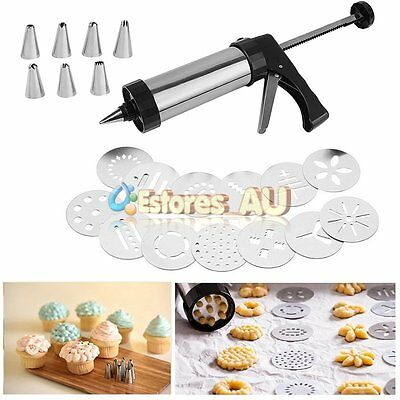 Cookie Press And Icing Set Stainless Steel Cookie Gun Icing Nozzles&Pattern Disc