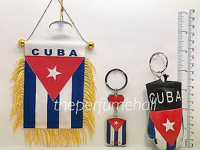 Cuba Cuban Flag Mini Banner Car mirror glass window cubano boxing glove key ring