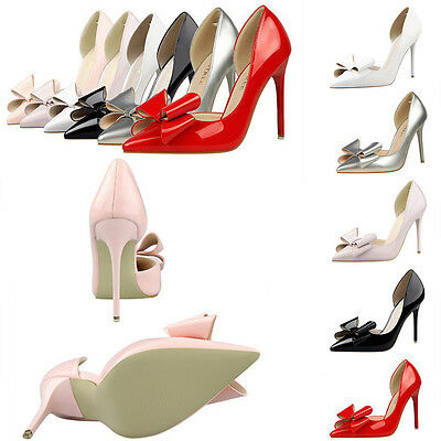 Fashion Women New Stiletto High Heels Shoes Shallow Bow Knot Pointed Toe Sandals