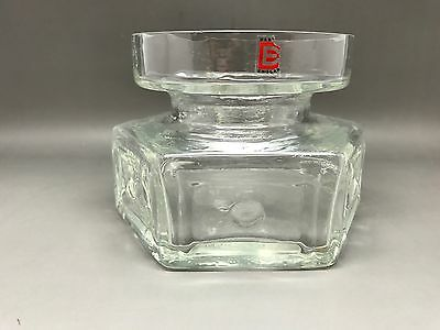 Small Clear Frank Thrower Dartington Vase With Label