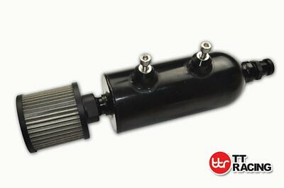 -12AN Baffled Oil Catch Can Black Reservoir Filter with Breather Drain Tap 750ml
