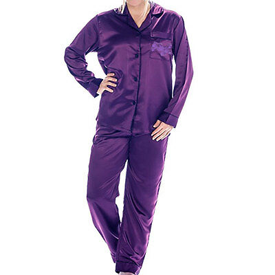 Ladies Women's Satin PJ Set Sleep Wear Pajama Set