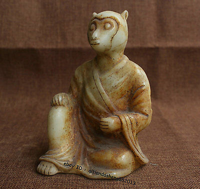 Chinese Old White Jade Carving 12 Zodiac Year Lucky Monkey Animal Statue S