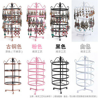 3-4-Tier Metal Rotating Jewelry Stand Earring Necklace Display Holes Holder Rack