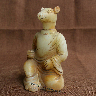 Chinese Old Jade Carving 12 Zodiac Year Lucky Mouse Hamster rat Animal Statue Q