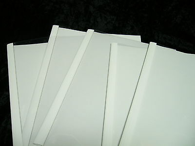 10 A4 BINDING COVER THERMAL COVERS WHITE BINDOMATIC BRAND CLEAR MATT 1.5mm