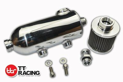 Baffled Oil Catch Can Reservoir Filter w/ Breather & Drain Tap 170ml 0.75L -12AN