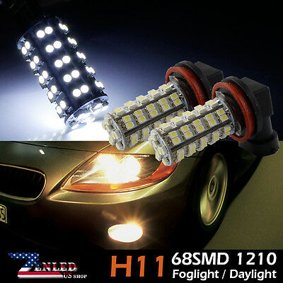2x HID Xenon White 6000K H8/H11 68-SMD Fog Lights Lamps DRL LED Bulbs Driving