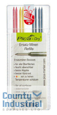Pica DRY Pencil Refills For Markers 2 x Red, 2 x Yellow, 4 x Black 4020REFILLS