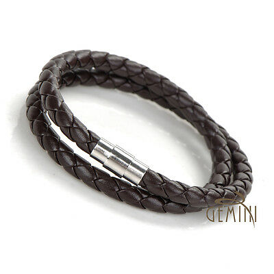 BUY 1 GET 1 FREE!!! Leather Stainless Steel Wristband Bracelet MKUS75-01B1