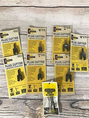 Stanley Router Drill Bit Lot Woodworking Plug Cutter New Vintage 8 pieces