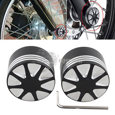 FITS Harley Davidson AXLE COVERS FOR 2008 UP SHINY NUTZ TOPPERS HOT FLAT BLACK
